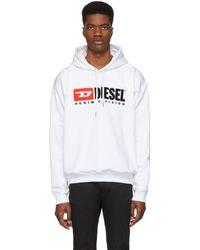 DIESEL - White S-division Hoodie - Lyst