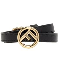 Fendi - Black Leather F Is Bracelet - Lyst