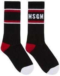 MSGM - Black Colorblock Logo Socks - Lyst