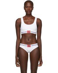 Calvin Klein - White Triangle Monogram Mesh Bra - Lyst