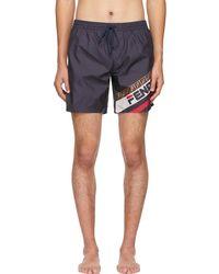 Fendi - Navy Mania Tech Swim Shorts - Lyst