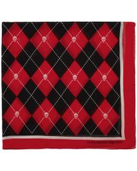 Alexander McQueen - Red And Black Argyle Scarf - Lyst