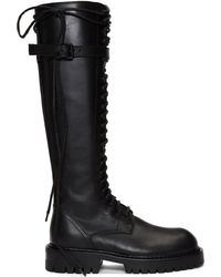 Ann Demeulemeester - Ssense Exclusive Black Leather Lace-up Boots - Lyst
