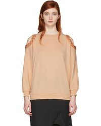 Nina Ricci - Pink Sequin Cut-out Sweatshirt - Lyst