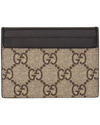 b5890b6bf34 Gucci - Beige GG Supreme Snake Card Holder - Lyst