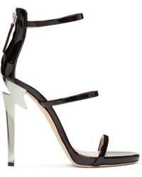 Giuseppe Zanotti - Black Three-strap G-heel Sandals - Lyst