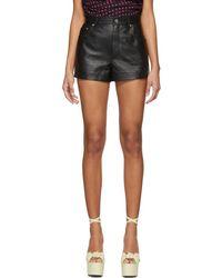 Saint Laurent - Black Leather High-waisted Shorts - Lyst