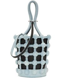 Alexander Wang - Black And Blue Denim Mini Roxy Cage Bucket Bag - Lyst
