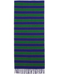 KENZO - Blue And Green Wool Memento Scarf - Lyst