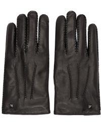 Valentino - Black Garavani Leather Rockstud Gloves - Lyst