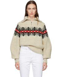 Isabel Marant - White Curtis Graphic Knit Zip-up Sweater - Lyst