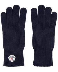 Moncler - Navy Knit Gloves - Lyst