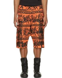 KTZ - Orange & Black Jersey Greek Print Shorts - Lyst