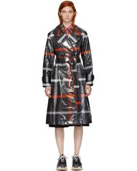 Marc Jacobs - Black And Red Plaid Belted Trench Coat - Lyst