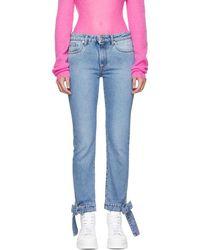 MSGM - Blue Bows Detailing Jeans - Lyst