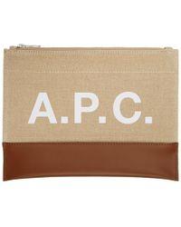 A.P.C. - ベージュ And ブラウン Axel ポーチ - Lyst
