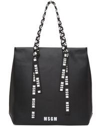MSGM - Black Large Logo Ribbon Shopper Tote - Lyst
