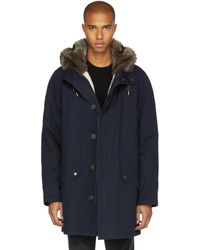 Yves Salomon - Navy Fur-lined Long Parka - Lyst