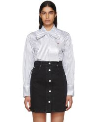 MSGM - White And Black Striped Bow Tie Shirt - Lyst