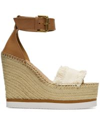 See By Chloé - Beige Espadrille Wedge Sandals - Lyst