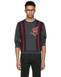 Dolce & Gabbana - Grey Combined Colour Knit Jumper - Lyst
