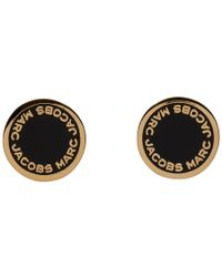 Marc Jacobs - Gold And Black Logo Stud Earrings - Lyst