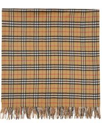 Burberry - Beige Cashmere Vintage Check Poncho - Lyst