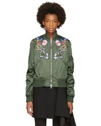 Alexander McQueen - Green Floral Embroidered Bomber Jacket - Lyst