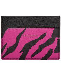 Saint Laurent Porte-cartes a logo rose et noir Zebra