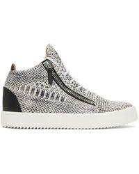 fdadf27064b9e Giuseppe Zanotti - White And Black Croc Kriss High-top Sneakers - Lyst