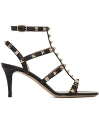 Valentino - Black Garavani Rockstud Cage Heeled Sandals - Lyst
