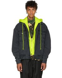 e807b3ce3e J - Black And Yellow Conceal. Reveal Hoodie Denim Jacket - Lyst