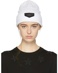 Givenchy | White Leather Logo Patch Beanie | Lyst