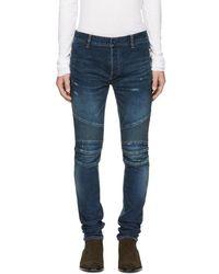 Balmain - Blue Silm Biker Zip Jeans - Lyst