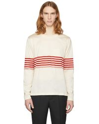 Paul Smith - Off-white Long Sleeve Chest Stripe T-shirt - Lyst
