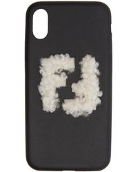 Fendi - Black Shearling Forever Iphone X Case - Lyst