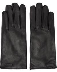 Dolce & Gabbana - Black Leather Logo Gloves - Lyst