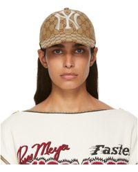 Gucci - Ny Yankees Edition タン GG スプリーム パッチ キャップ - Lyst