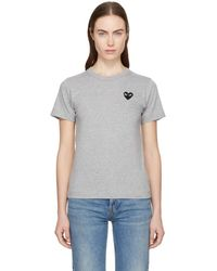 Play Comme des Garçons - Grey And Black Small Heart Patch T-shirt - Lyst
