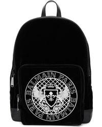 Balmain - Black Velvet And Leather Beast Backpack - Lyst
