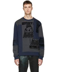 McQ - Blue And Grey Patchwork Crewneck Sweatshirt - Lyst