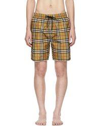 Burberry - Yellow Vintage Check Swim Shorts - Lyst