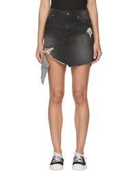 SJYP - Ssense Exclusive Black Denim Cut-off Miniskirt - Lyst