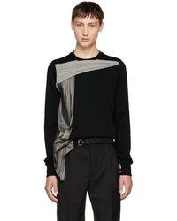 Rick Owens - Black And Grey Panelled Crewneck T-shirt - Lyst