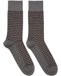 BOSS - Two-pack Grey And Red Stripe Socks - Lyst