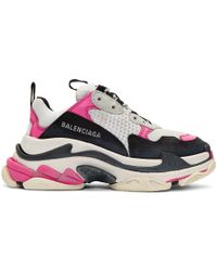 Balenciaga - Pink And White Triple S Sneakers - Lyst