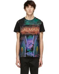 Balmain - Destroyed Printed Cotton Jersey T-shirt - Lyst