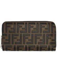 Fendi - Brown Forever Zip Around Wallet - Lyst