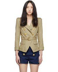 Balmain - Beige Cotton And Linen Blazer - Lyst