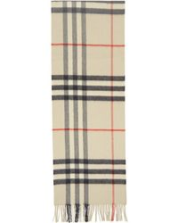 Burberry - Off-white Check The Classic Cashmere Scarf - Lyst